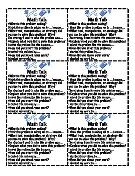 Math Talk- Conversation Starters