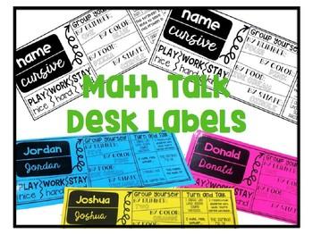 Math Talk Desk Labels