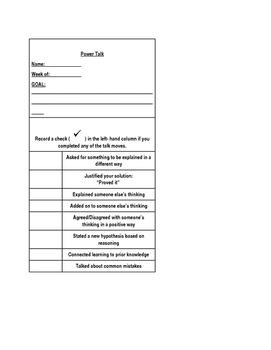 Math Talk Goal Sheets