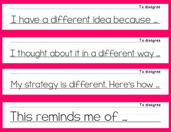 Math Talk Mathematical Discourse Sentence Stem Posters