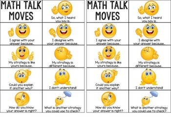 Math Talk Moves Student Cards
