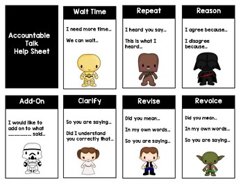 Math Talk Moves Posters & Help Sheet - Accountable Talk - Star Wars Themed