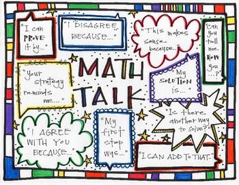 Math Talk/Number Talk/Talking about Math Sentence Starter Poster