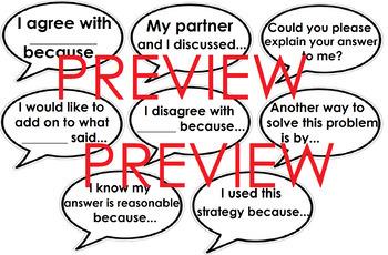 Math Talk/Number Talk sentence starters (Conversation starters) #ausbts18