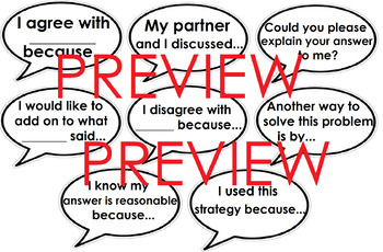 Math Talk/Number Talk sentence starters (Conversation starters) #BTSFRESH