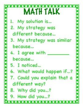 Math Talk Poster