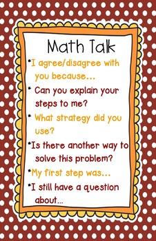 Math Talk Poster Free