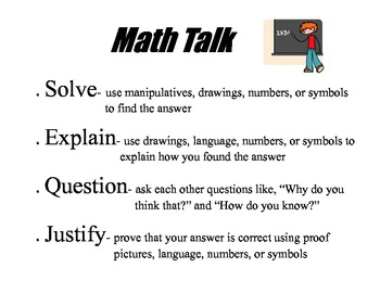 Math Talk Poster adapted from Math Expressions