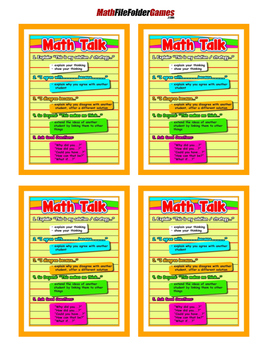 Math Talk {Poster/Anchor Chart with Cards for Students}