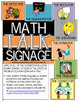 Math Talk Problem Solving Jobs Classroom Bulletin Board Signage