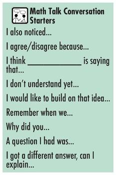 Math Talk Prompt Poster