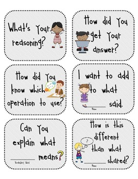 Math Talk Question Cards for Students
