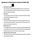 Math Talk - Question Starters