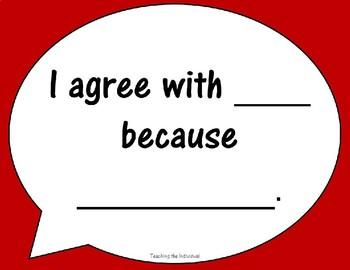 Math Talk Sentence Frame Conversation Bubbles