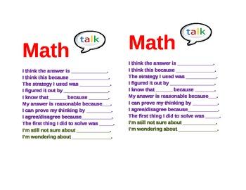 Math Talk Sentence Starter Prompts Cards Common Core