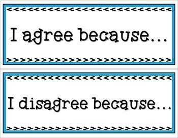 Math Talk Sentence Starter Cards
