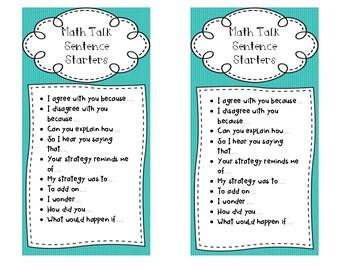Math Talk Sentence Starts