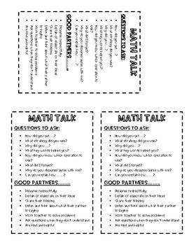 Math Talk & Sentence starter desk cards
