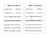 Math Talk Stems