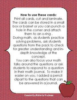 Math Talk - Task Cards and Journal Prompts
