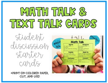 Math Talk & Text Talk Discussion Cards
