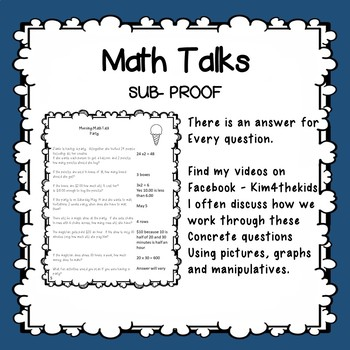 Math Talks common core style 10 days or 10 Centers  3rd to 5th