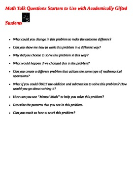 Math Talks - Question Starters for Gifted Math Students