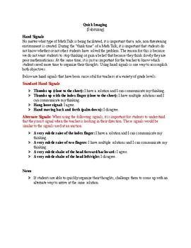 Math Talks: Quick Imaging (General Instructions)
