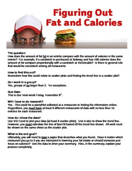 Math Task - Calories vs Fat