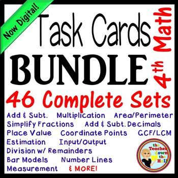 A Math Task Card BUNDLE (Over 300 cards w/ QR Codes!) Grades 4th-5th