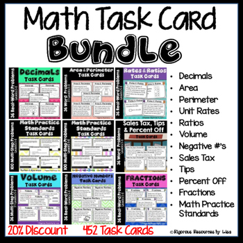 Math Word Problem Task Card Bundle