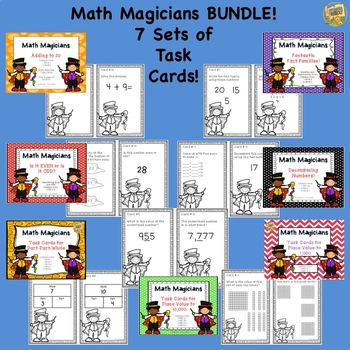Math Task Card Bundle - 7 sets - Place Value, Decomposing, Even/Odd, and MORE