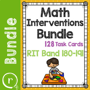 Math Interventions or Test Prep Task Card Bundle NWEA RIT Band 180-191