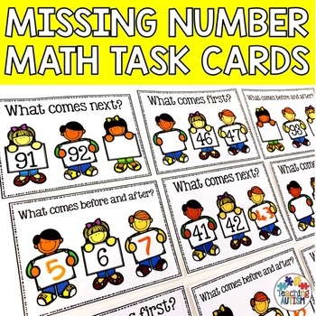 Math Task Card Bundle, What comes first?, What comes next?, Before and after.