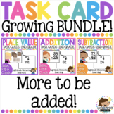 Math Task Card GROWING BUNDLE 2nd Grade