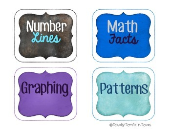 Math Task Card Labels