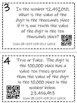 Math Task Card: Place Value FREEBIE