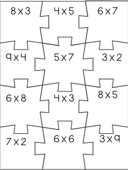 Math Task Card Puzzles - Multiplication
