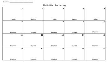 Math Task Card Recording Sheet