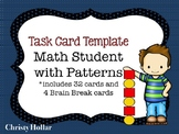 Math Task Card Template Boy/Patterns for Scoot, Centers, more.