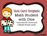 Math Task Card Template Boy w/Dice for Scoot, Centers, more.