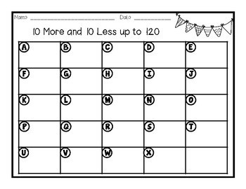 Math Task Cards - 10 More and 10 Less up to 120