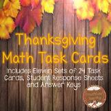 Math Task Cards:11 Different Skills for November & Thanksgiving