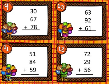 Math Task Cards:11 Different Skills for November & Thanksgiving