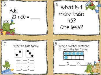 1st Grade Math Task Cards (Summer Themed)