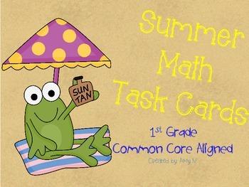 1st Grade Math Task Cards (Summer Themed)