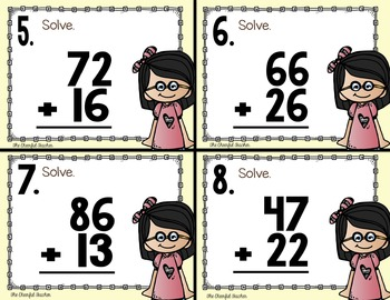 Math Task Cards: 2 Digit Addition (With and Without Regrouping)