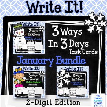 Math Task Cards {2-Digit Numbers} ~ January BUNDLE