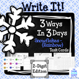 "Math Task Cards {2-Digit Numbers} ~ ""Snowflakes {Rainbow}"" version"