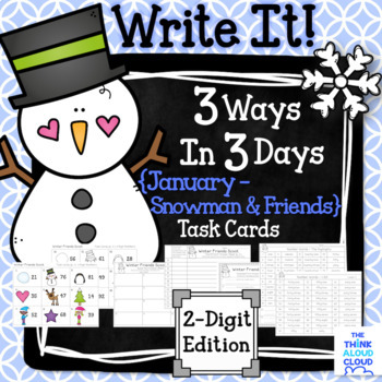 "Math Task Cards {2-Digit Numbers} ~ ""Snowman and Winter Friends"" version"